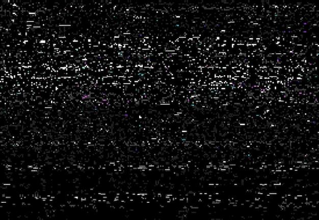 Glitch vhs distorsione sfondo vettoriale dello schermo di effetto video glitch con rumore statico. errore del segnale tv, videocassetta danneggiata o trama del nastro vhs con rumore di pixel casuale, design astratto dello sfondo