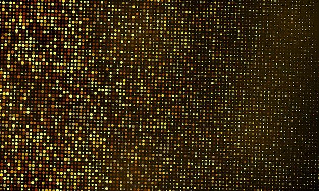 Modello di sfondo celebrazione glitter con coriandoli e nastri d'oro. biglietto di auguri ricco di lusso.