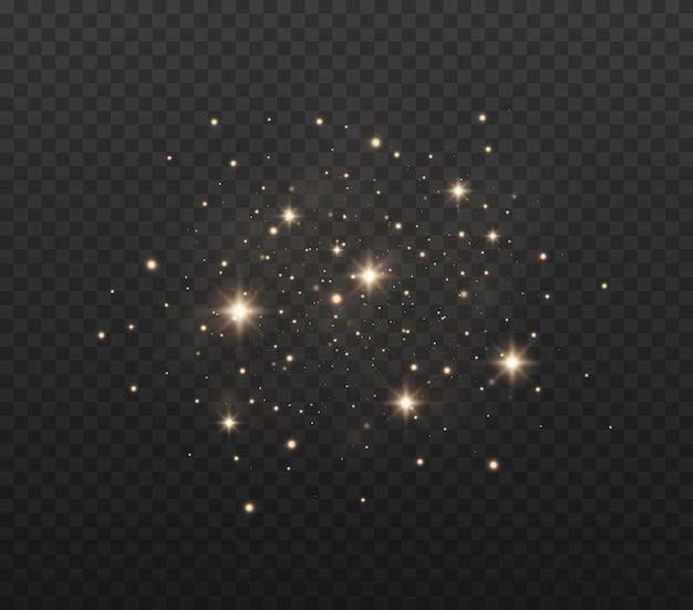 Effetto scintillio delle particelle le scintille di polvere e le stelle dorate brillano di luce speciale