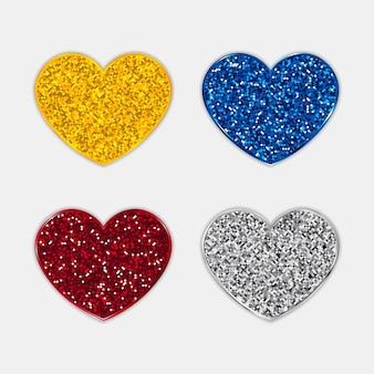 Set di icone di cuori glitter.