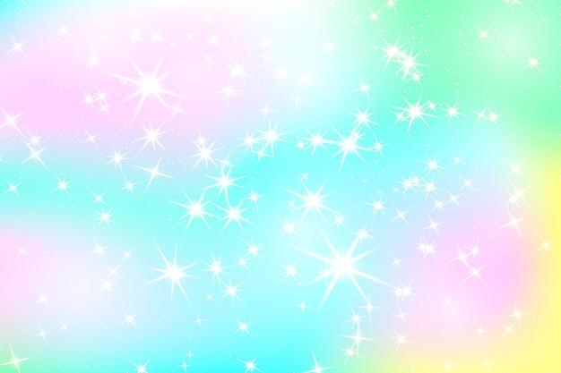 Priorità bassa dell'arcobaleno di scintillio. il cielo in colori pastello. reticolo luminoso della sirena. illustrazione di vettore. sfondo colorato di unicorno.