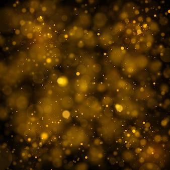 Glitter e scintillanti particelle di polvere magica con effetto bokeh.