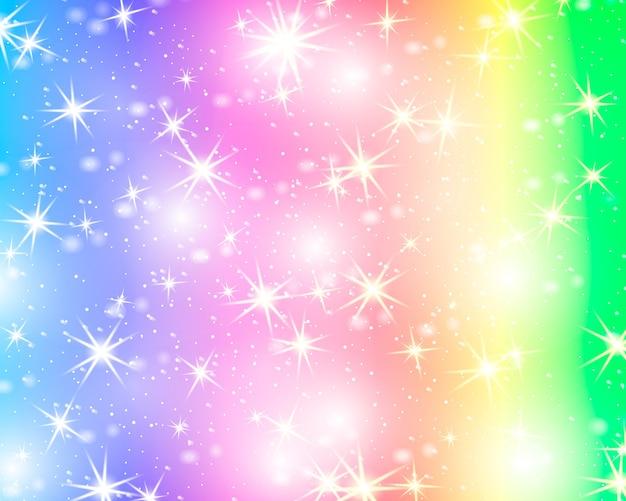Sfondo arcobaleno di stelle glitter. cielo stellato in colore pastello. sirena luminosa. stelle colorate unicorno.