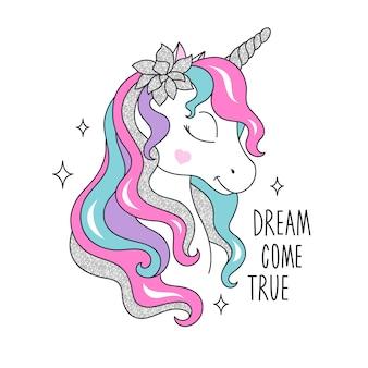 Unicorno glitterato con motivo floreale per bambini. illustrazione di moda disegno in stile moderno per i vestiti.