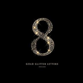 Lettere dorate scintillanti su sfondo nerolettere brillanti