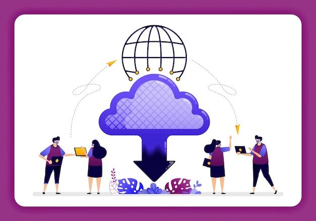 Accesso globale alla tecnologia cloud per la condivisione e l'invio di file su internet