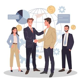 Illustrazione di partnership commerciale globale