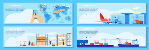 Rifornimento a catena globale, illustrazione di vettore del servizio di consegna logistica. raccolta di banner di spedizione cargo piatto infografica del fumetto con gestione delle consegne in tutto il mondo, spedizione via nave, insieme di concetti di aria