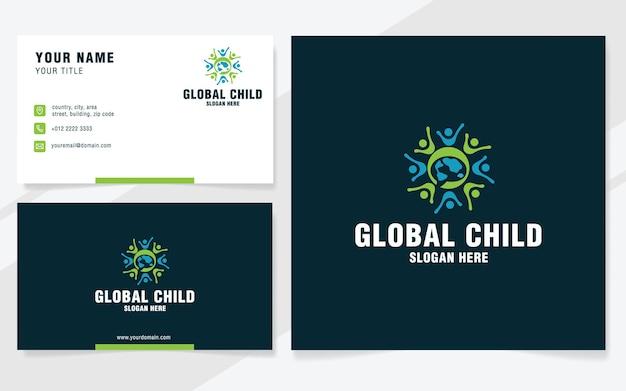 Modello di logo del bambino globale in stile moderno