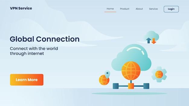 Campagna di connessione globale per il modello di banner della pagina di destinazione della home page del sito web
