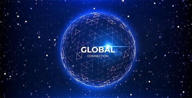 Rete di dati globali connessione astratta del globo fondo di tecnologia della sfera di dati