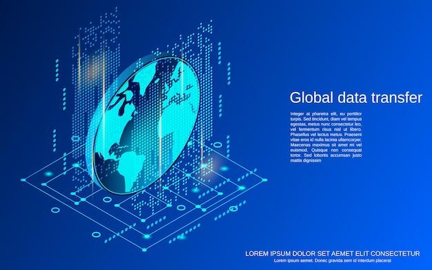 Illustrazione di concetto di vettore isometrico piatto 3d di trasferimento dati globale
