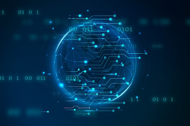 Tecnologia globale blu della terra digitale