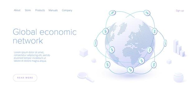 Rete economica globale nella pagina di destinazione isometrica. economia mondiale o concetto di mappa finanziaria globale. affari internazionali. modello di layout banner web.