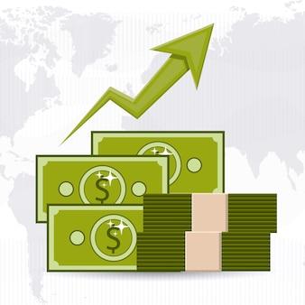 Concetto di economia globale con icone di denaro