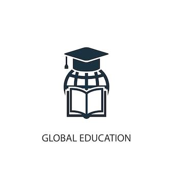 Icona di educazione globale. illustrazione semplice dell'elemento. disegno di simbolo del concetto di educazione globale. può essere utilizzato per web e mobile.