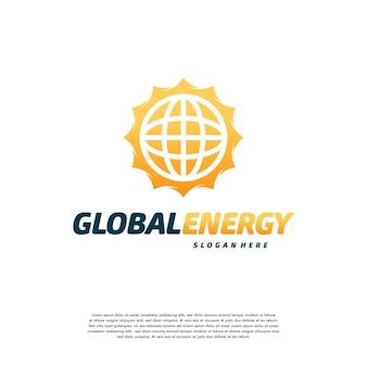 Il modello di simbolo del logo global energy, il logo sun power progetta il concetto vettoriale
