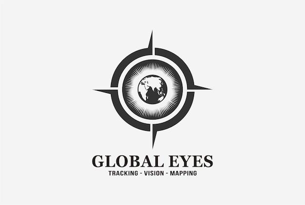 Design del logo degli occhi globali con elemento bussola.