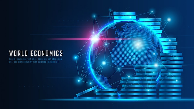 Finanziaria globale nel concetto grafico adatto per investimenti finanziari globali