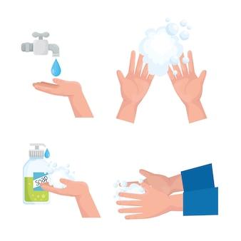 Design della collezione di icone del giorno del lavaggio delle mani globale, igiene lavare la salute e pulire