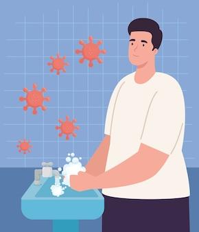 Giornata mondiale del lavaggio delle mani uomo che si lava le mani con il design del rubinetto dell'acqua, igiene lavare la salute e pulire