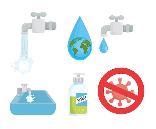 Set di simboli del giorno del lavaggio delle mani globale, igiene lavare salute e pulizia