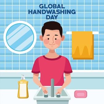 Campagna globale per il lavaggio delle mani con uomo che si lava le mani in bagno