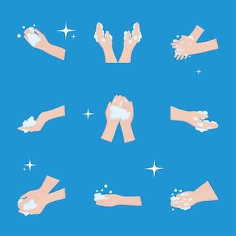Giornata mondiale del lavaggio delle mani, icone di raccolta mani lavaggio bolle illustrazione