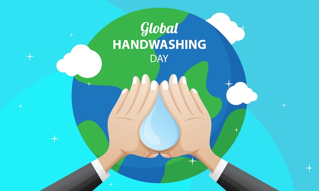 Global handwashing day illustrazione con terra, acqua e mani