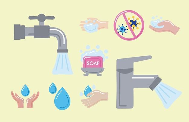 Icone della nona giornata mondiale del lavaggio delle mani
