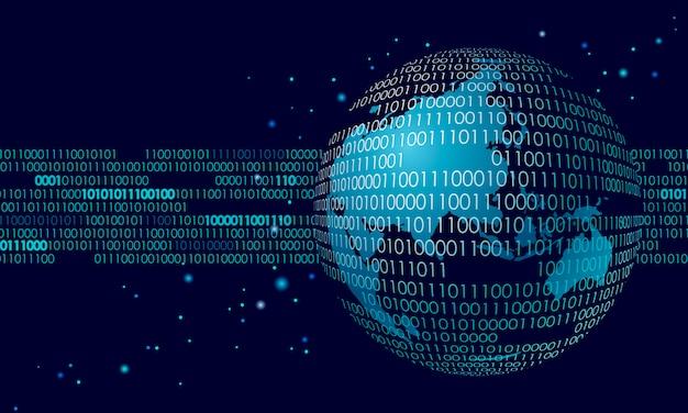 Scambio di dati di informazioni di collegamento internazionale globale, spazio del pianeta Vettore Premium