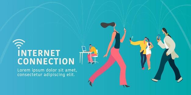 Connessione internet globale e illustrazione piana di concetto di persone moderne, banner.