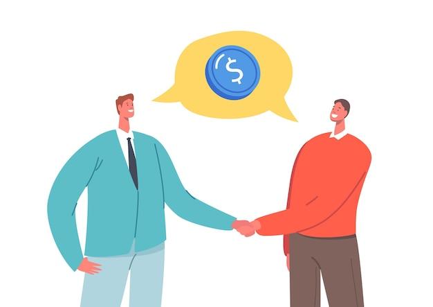 Opportunità di investimento globale, accordo commerciale. caratteri di persone di affari che agitano le mani. partnership, accordo, incontro, discussione durante i negoziati internazionali. cartoon persone illustrazione vettoriale