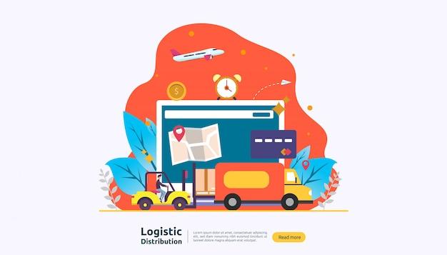 Servizio di distribuzione logistica globale e consegna in tutto il mondo di banner di spedizione con carattere persone
