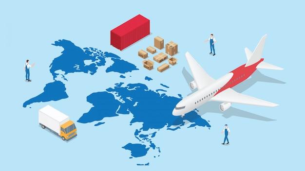 Rete logistica globale con mappa del mondo e trasporto aereo e container con moderno stile isometrico