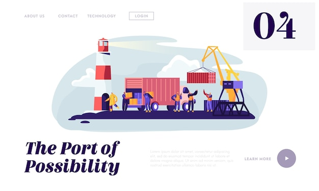 Modello di pagina di destinazione logistica marittima globale