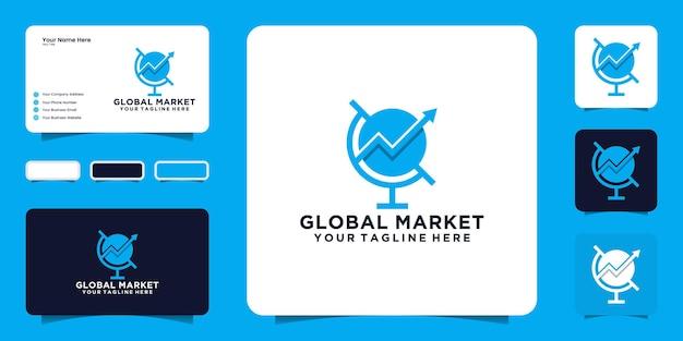 Logo del mercato globale e ispirazione per il design dei biglietti da visita