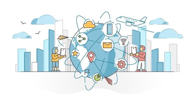 Rete globale come comunicazione tecnologica intorno al concetto di struttura del globo