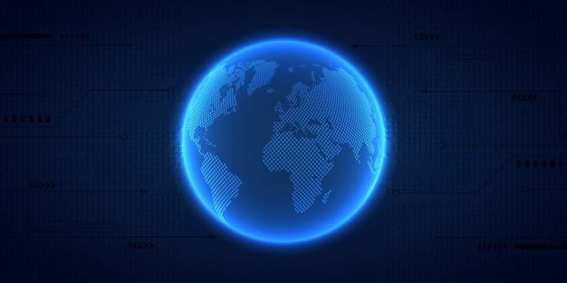 Connessione di rete globale concetto di affari e tecnologia di internet fondo di tecnologia. illustrazione