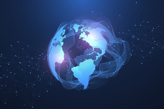 Concetto di connessione di rete globale. visualizzazione dei big data. comunicazione sui social network nelle reti informatiche globali. tecnologia internet. attività commerciale. scienza. illustrazione