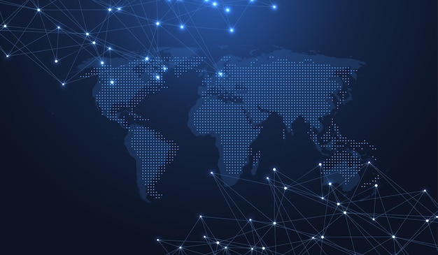 Concetto di connessione di rete globale. visualizzazione di grandi dati. comunicazione di social network nelle reti informatiche globali. tecnologia internet. attività commerciale. scienza. illustrazione vettoriale