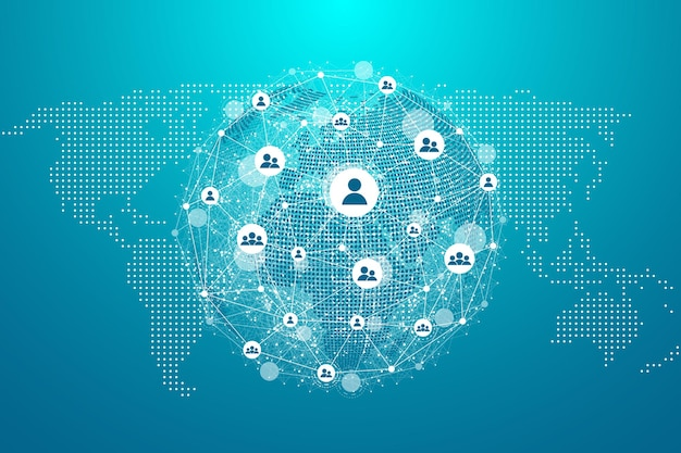 Concetto di connessione di rete globale. visualizzazione di grandi dati. comunicazione di social network nelle reti informatiche globali. tecnologia internet. affare. scienza. illustrazione vettoriale