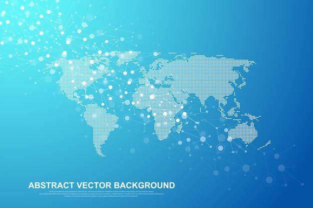 Concetto di connessione di rete globale. visualizzazione dei big data. comunicazione sui social network
