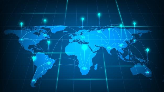 Connessione di rete globale, internet e concetto di connessione globale
