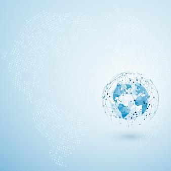Connessione di rete globale. punto della mappa poligonale del mondo e composizione della linea. concetto di business globale.