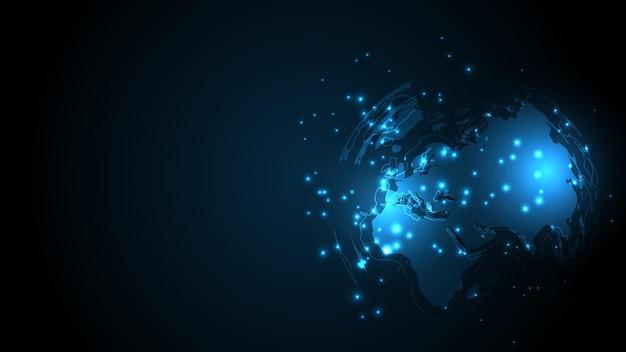 Connessione di rete globale mappa del mondo sfondo tecnologico astratto innovazione aziendale globale