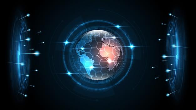 Connessione di rete globale fondo astratto di tecnologia della mappa di mondo