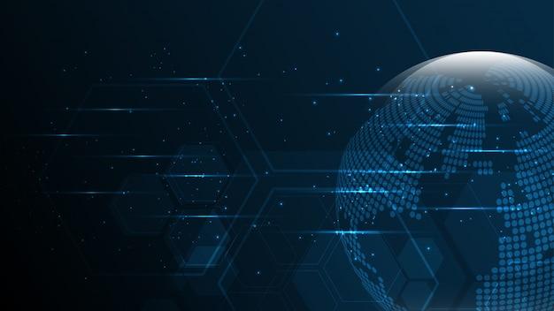 Connessione di rete globale mappa del mondo astratto tecnologia banner sfondo