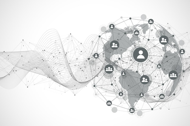 Connessione di rete globale. punto della mappa del mondo e concetto di composizione della linea del business globale. tecnologia internet. rete sociale. illustrazione di vettore.