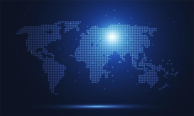 Connessione di rete globale. punto della mappa del mondo e concetto di composizione della linea del business globale. illustrazione vettoriale